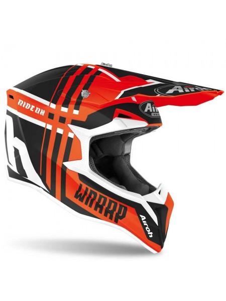 Кроссовый мотошлем Airoh Wraap Broken Orange Matt
