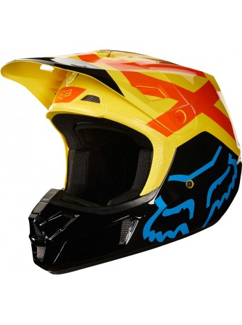Кроссовый мотошлем Fox V2 Preme Black Yellow