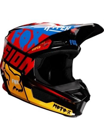 Шлем кроссовый детский Fox V1 Czar с рисунком