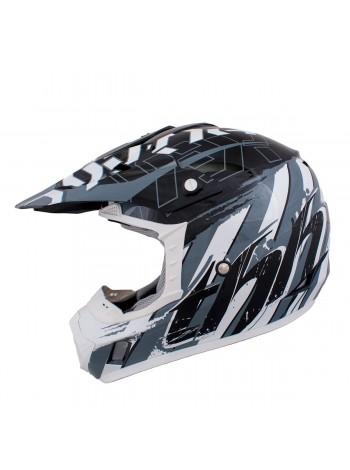 Кроссовый шлем THH TX-12 HAZARD Черный/Серебристый