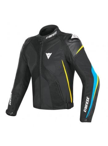 Мужская куртка Dainese SUPER RIDER D-DRY Black/Fire-Blue/Fluo-Yellow