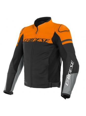 Куртка кожаная Dainese AGILE Black-Matt/Orange/Charcoal-Gray