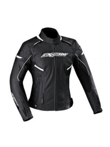 Куртка кожаная женская Ixon Stunter черно-белая