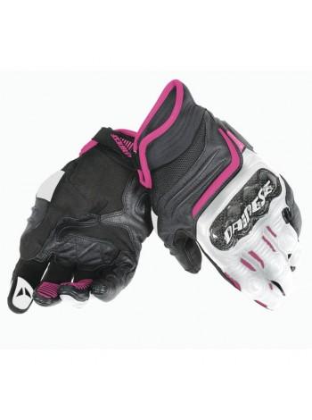 Мотоперчатки женские Dainese CARBON D1 SHORT LADY Черно-розовые