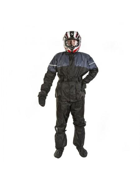 Мотодождевик PROUD TO RIDE куртка, брюки, бахилы и перчатки Черный с серым