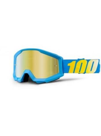Маска кроссовая 100% Strata Cyan Blue - Mirror Gold Lens