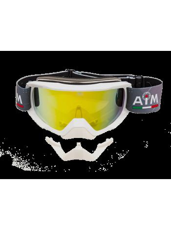 Маска снегоходная с двойной линзой AiM (PRO) White Glossy