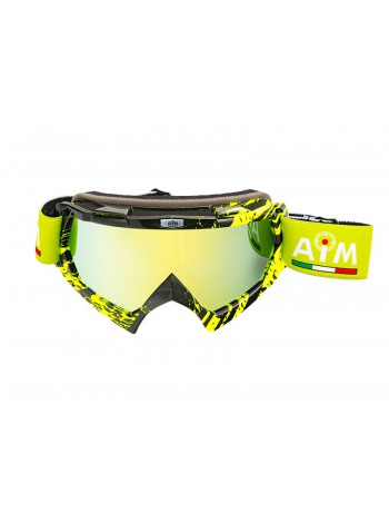 Маска кроссовая AiM (PRO) 157-600 Black-Yellow Glossy