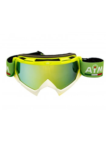 Кроссовая маска AiM (PRO) 157-900 Lime-White Glossy