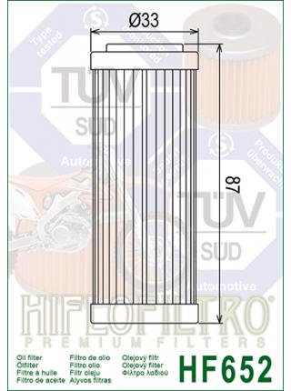 Масляный фильтр HifloFiltro HF-652 (0712-0215)