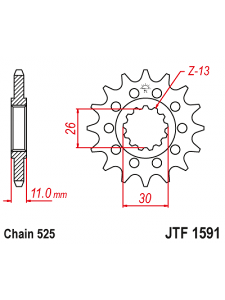 Звезда передняя (ведущая) JT 525-16 зубьев JTF1591.16, стальная