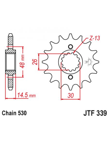 Звезда передняя (ведущая) JT 530_17, JTF339.17