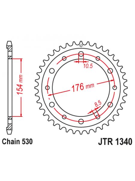 Звезда задняя (ведомая) JT  JTR1340.43 стальная