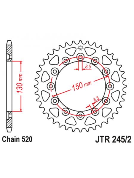 Звезда задняя (ведомая) JT, JTR245/2.53 стальная