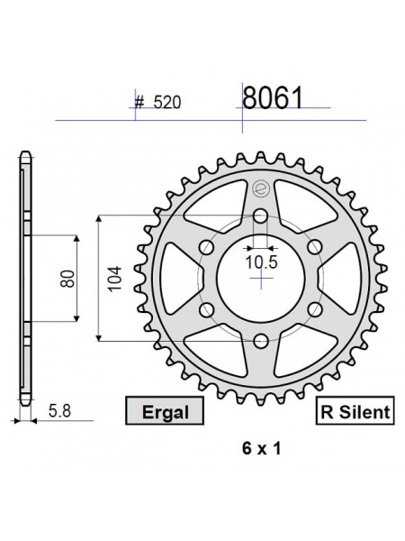 Звезда задняя (ведомая) Ognibene 8061-R46 (JTR478.46) 368061R46