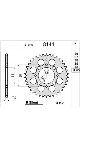 Звезда задняя (ведомая) Ognibene 8144-R45 (JTR838.45) 368144R45