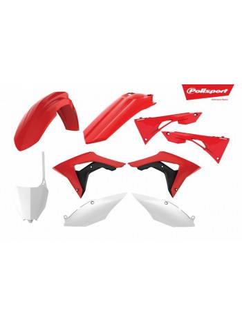 Комплект пластика Polisport на мотоцикл Honda CRF450R 2017, CRF250R 2018 бело-красный