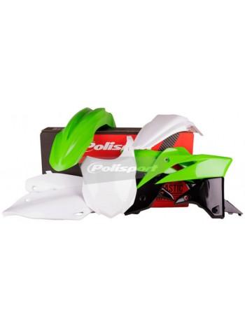 Комплект пластика Polisport на мотоцикл Kawasaki KX250F 2013-16 зелено-белый