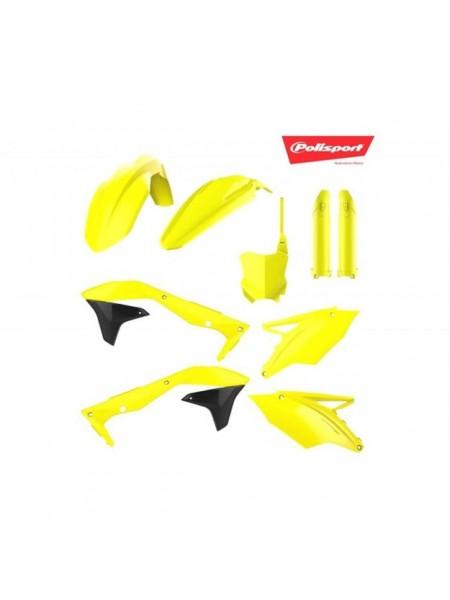 Комплект пластика Polisport на мотоцикл Kawasaki KX250F 2017-19 желтый